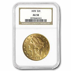 1878 $20 Liberty Gold Double Eagle AU-58 NGC - SKU#7402