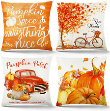 Fall Pillow Covers 18×18 Inch Set of 4 Atmosphere Orange Pumpkin Pillow Covers