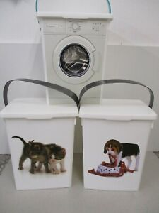 2x Waschpulverbox Waschmittelbox -Tierfutterldose Tierfutterbehälter + Deckel 5l