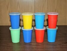 8 TUPPERWARE 8 OUNCE TUMBLER GLASSES WITH SNAP LIDS