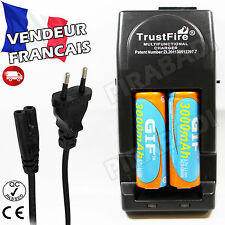 2 PILES ACCUS RECHARGEABLE 18650 3.7V 3000mAh + CHARGEUR TR-001 TRUSTFIRE RAPIDE