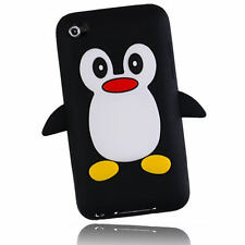 Black Cute Penguin 3D Silicone Case Cover for iTouch Touch 4th Gen 4 +Film