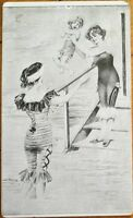 Bathing Beauty & Child in Water 1906 French Postcard - Artist-Signed, Risque