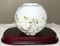 "Antique Victorian Satin White Milk Glass Embossed Hand Painted Round Vase 4"""
