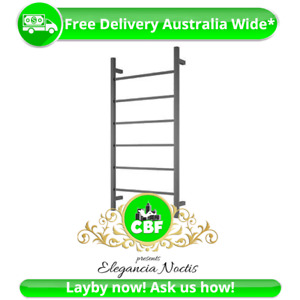 Square 6 Rung Bathroom Towel Ladder 920 x 460mm Stainless Matte Black Non Heated