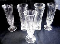 VINTAGE JOB LOT X 5 LEAD CRYSTAL  VASES 17 CM WEDDING FLORIST TEA ROOM CAFE