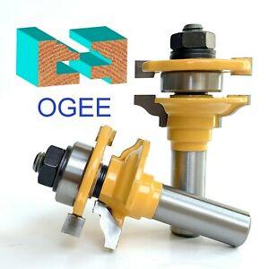 "2pc 1/2"" Shank Roman Ogee Rail and Stile Router Bit Set S"