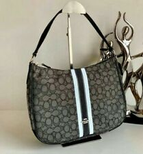 Coach Hobo bag handbag shoulder bag signatured jacquard with stripes black/blue