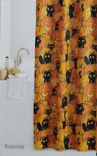 Celebrate Halloween Orange w/ Black Cat & Pumpkin Fabric Shower Curtain 70x70