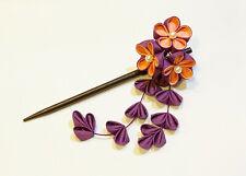 Japanese Kanzashi HairStick Made with Peach Colored Fabric & Purple Tassle