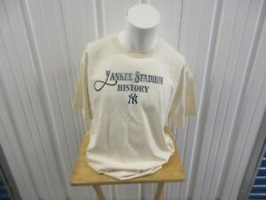 VINTAGE 2008 MAJESTIC MLB NEW YORK YANKEES STADIUM HISTORY XL GRAPHIC CREAM TEE