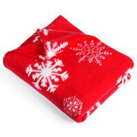 Retro Snowflake Nordic Alpine Christmas Fleece Blanket Throw 130 x 160 cm - Red