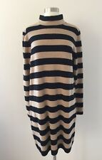 2d1afad37c2 NWT J. Crew Striped Turtleneck Sweater Dress Black Saddle Brown Sz XL H2467