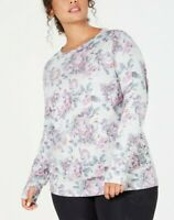 Ideology Plus Size Floral-Print Lace-up Top Grey Whisper Size 2X $54.50
