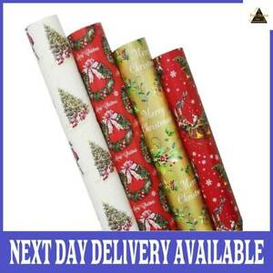 4 x 8M Rolls Of Traditional Christmas Gift Wrapping Paper FIRST CHOICE KAYA