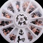 3D Christmas Black Slice Metal Stickers Nail Art Decoration Foil Decal Wheel