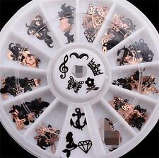 3D Christmas Black Slice Metal Stickers Nail Art Decoration Foil Decal Wheel