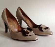 BOTTICELLI Vintage Beige Leather High Heel Court Shoe Flower Detail Narrow UK 4