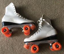 Vintage Roller Derby Skates Retro White Shoe Orange Urethane 28 Wheels Women 10