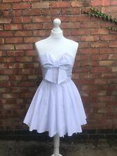 Jones And Jones White Skater Dress Tutu Detail Prom Dress Strapless Size 8 B7