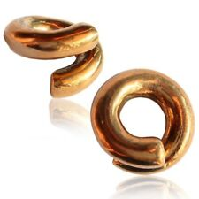 PAIR 4G ROSE BRASS TWISTS EAR WEIGHTS PLUGS TUNNELS STRETCH GAUGE HOOPS