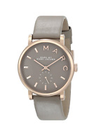New Marc by Marc Jacobs Baker Rose Gold Grey Gray Leather Women's Watch MBM1266