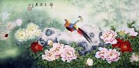 ORIGINAL ASIAN ART CHINESE FAMOUS WATERCOLOR PAINTING-Golden Birds&Peony flowers