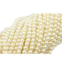 100 Vanilla Glass Pearl Round Beads 4MM LIMITED