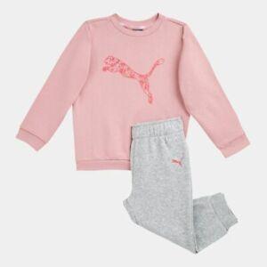 Puma Minicats Crew Baby Toddler Jog Set Tracksuit Pink & Grey for Girl Brand New
