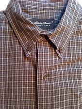 Eddie Bauer Long Sleeve Plaid Button Down One Pocket 100% Cotton Size Large