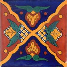 "100 Handmade Ceramic Mexican Tile Folk Art 4x4"" C050"