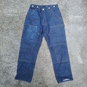 VTG Carhartt Dungaree Double Knee Denim Work Wear Pants Logger Jeans 32x30 -