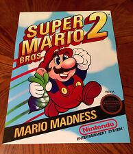 "Super Mario Bros 2 NES box art retro video game 24"" poster print nintendo 80s"
