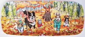 """FIG & FERN? 19""""x8"""" colorful DOGS RUNNING IN LEAVES Fall melamine SANDWICH TRAY"""