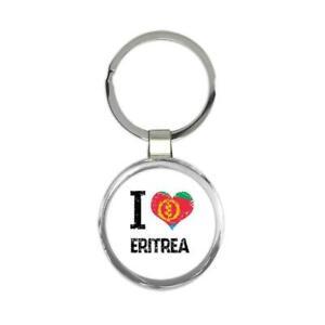 Gift Keychain : I Love Eritrea Heart Flag Country Crest Eritrean Expat
