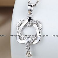 XMAS GIFTS FOR HER  Twin Crystal Hearts & Silver Necklace Women Gifts for Mum K9