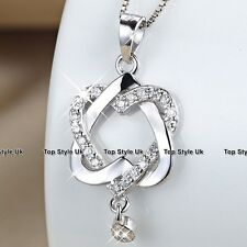 Xmas Gifts for Her Girls Women Mum Silver 925 Crystal Diamond Heart Necklace FR3