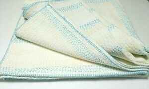 John Robshaw 1 Twin Cotton Hand Stitched Quilt Boho Bedding Cover Blue Ivory