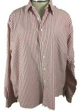 Lands End shirt top Size 18 blouse red stripe long sleeve womens