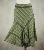Per Una M&S Green Stripe Skirt Size UK 12 100% Cotton Lined Marks Spencer
