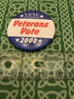 VFW Veterans Of Foreign Wars Veterans Vote 2000 Pin Button FREE SHIPPING