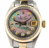 Rolex Datejust Ladies 2Tone 14K Gold Steel Watch Tahitian MOP Diamond Dial 6917