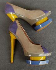 Glanmarco Lorenzi Couture Peeptoe Suede Leather Stilettos Size 6