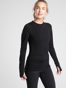 ATHLETA Foresthill Merino Wool Ascent Top S SMALL Black Long Sleeve Hiking Shirt