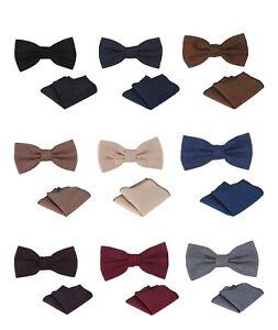 Mens Boys Herringbone Tweed Dickie Bow Tie & Pocket Square Handkerchief Hanky