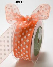 MAY ARTS RIBBONS~SHEER DOTS~ORANGE WITH WHITE~1.5 INCHES WIDE~SOLD BY THE YARD!