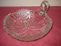 VTG FLOWER BURST ABP CLEAR CUT GLASS NAPPY DISH ETCHED FLOWERS SGL LOOP HANDLE