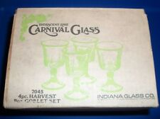 4 PC Vintage Iridescent Lime Indiana Carnival Glass Goblets Harvest 9 Ounce NIB