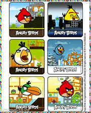 Angry Birds Stickers X 6 - Party Favours- Video Games Movie Angry Birds Birthday
