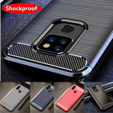 Shockproof Brushed Carbon Fiber Back Rubber Silicone TPU Soft Phone Case Cover